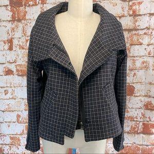 ZARA navy brown plaid funnel neck jacket medium
